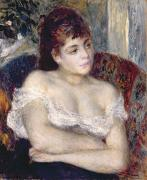 Chest Framed Prints - Woman in an Armchair Framed Print by Pierre Auguste Renoir