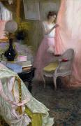 Pink Bedroom Paintings - Woman in an Interior   by Albert Breaute