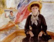 Straw Hat Framed Prints - Woman in Boat with Canoeist Framed Print by Renoir