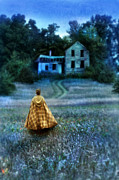 Haunted House Posters - Woman in Cape Approaching Old House Poster by Jill Battaglia