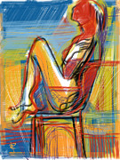 Chair Mixed Media Framed Prints - Woman in Chair Framed Print by Russell Pierce