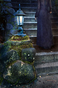 Night Lamp Prints - Woman in Dark Gown on Old Staircase Print by Jill Battaglia