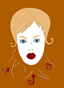 Brown Hair Drawings Posters - Woman in Fashion Poster by Frank Tschakert
