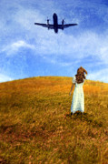 Daydream Prints - Woman in Field Looking Up at an Airplane Print by Jill Battaglia