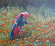 Mexican Landscapes Prints - Woman in field of cempazuchitl flowers Print by Judith Zur
