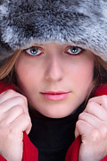Fur Hat Posters - Woman in fur hat and red coat Poster by Richard Thomas
