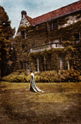 Satin Dress Prints - Woman in Gown Walking Outside a Mansion Print by Jill Battaglia