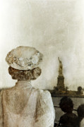 Lace Dress Prints - Woman in Hat Viewing the Statue of Liberty  Print by Jill Battaglia