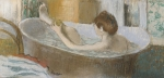 Female Pastels - Woman in her Bath by Edgar Degas