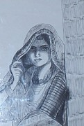 Indian Ink Painting Framed Prints - Woman in Ink Framed Print by Anu Darbha