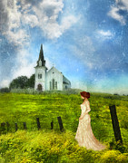 Bride Posters - Woman in Lace by a Country Church Poster by Jill Battaglia