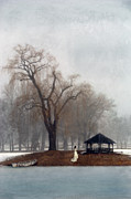 Quite Posters - Woman in Lace Gown by a Gazebo in Winter Poster by Jill Battaglia