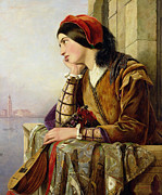Balcony Paintings - Woman in Love by Henry Nelson O Neil
