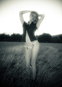 Figure Pose Prints - Woman in Meadow - Black and White Print by Scott Sawyer