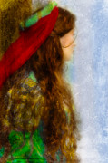 Painterly Photos - Woman in Medieval Gown by Jill Battaglia