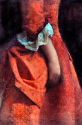 Period Framed Prints - Woman in Red 18th Century Gown Framed Print by Jill Battaglia