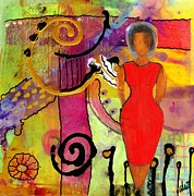 African-american Mixed Media Framed Prints - Woman in RED Framed Print by Angela L Walker