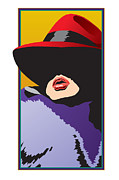 Sun Hat Digital Art Posters - Woman in Red Hat Poster by Steven Schader