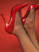 Stockings Prints - Woman in Red High Heel Shoes Print by Oleksiy Maksymenko