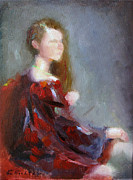 Red Robe Paintings - Woman in Red Robe 2 by Keiko Richter