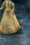 Period Clothing Prints - Woman in Renaissance Clothing on Stone Staircase Print by Jill Battaglia