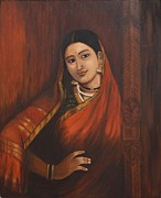 Ravi Art - Woman in Saree - after Raja Ravi Varma by Usha Shantharam