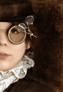 Featured Prints - Woman in Steampunk Clothing  Print by Jill Battaglia