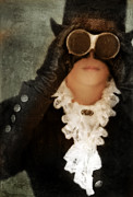 Period Clothing Prints - Woman in Steampunk Clothing with Vintage Binoculars Print by Jill Battaglia