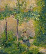 Greens Paintings - Woman in the Garden by Hippolyte Petitjean