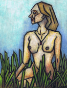 Oil Pastel Prints Originals - Woman in The Meadow by Kamil Swiatek