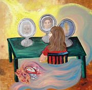 Table And Chairs Framed Prints - Woman In The Mirror Framed Print by Lisa Kramer