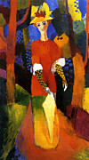 Macke Framed Prints - Woman in the Park Framed Print by Stefan Kuhn