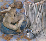 Form Pastels Metal Prints - Woman in the Tub Metal Print by Edgar Degas