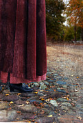 Period Clothing Photos - Woman in Vintage Clothing on Cobbled Street by Jill Battaglia