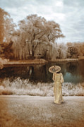 Period Clothing Prints - Woman in Vintage Dress with Parason by Lake Print by Jill Battaglia