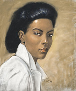Romantic Realism Pastels Prints - Woman in  White Blouse Print by L Cooper