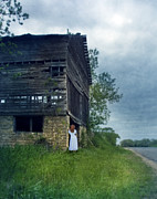 Run Down Posters - Woman in White by Old Barn Poster by Jill Battaglia