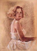 White Dress Pastels Prints - Woman in White Dress Print by Kathryn Donatelli