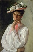 Half Length Paintings - Woman in White by William Merritt Chase