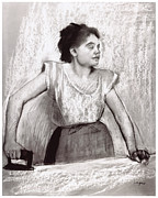Degas Drawings Framed Prints - Woman Ironing Framed Print by Edgar Degas
