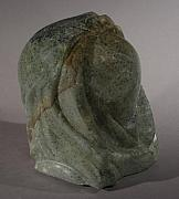 Woman Head Sculpture Prints - Woman Print by Karen  Peterson