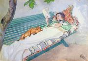 Pets Painting Prints - Woman Lying on a Bench Print by Carl Larsson