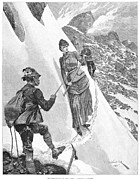 Climber Framed Prints - Woman Mountaineer, 1885 Framed Print by Granger