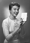 30-39 Years Posters - Woman Note Pad Posing In Studio, (b&w), Portrait Poster by George Marks