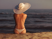 Sun Hat Posters - Woman on a Beach Poster by Oleksiy Maksymenko