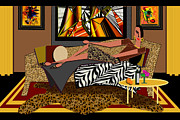 Chaise Digital Art Metal Prints - Woman on a Chaise Lounge Metal Print by Jann Paxton
