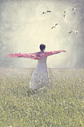 Bird; Meadow Acrylic Prints - Woman On A Lawn Acrylic Print by Joana Kruse