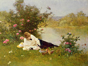 Lying Metal Prints - Woman on a River Bank Metal Print by Ferdinand Heilbuth