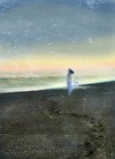 Woman Standing Posters - Woman on Beach at Dawn Poster by Jill Battaglia