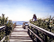 Verandah Paintings - Woman on Beach Entrance by Beth Kantor